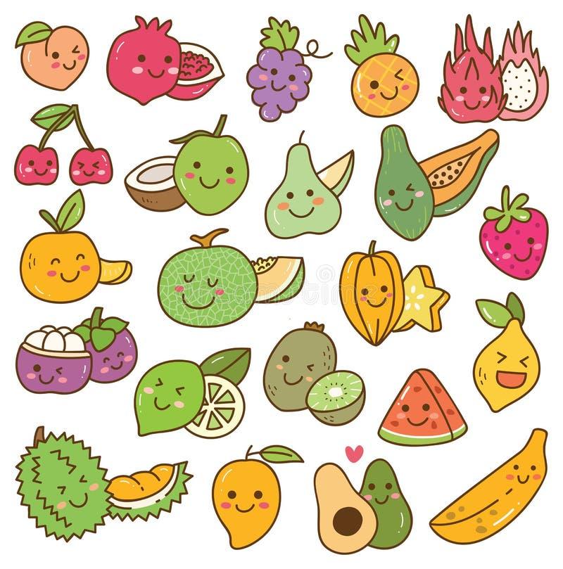 Ajuste do fruto do kawaii no fundo branco ilustração do vetor