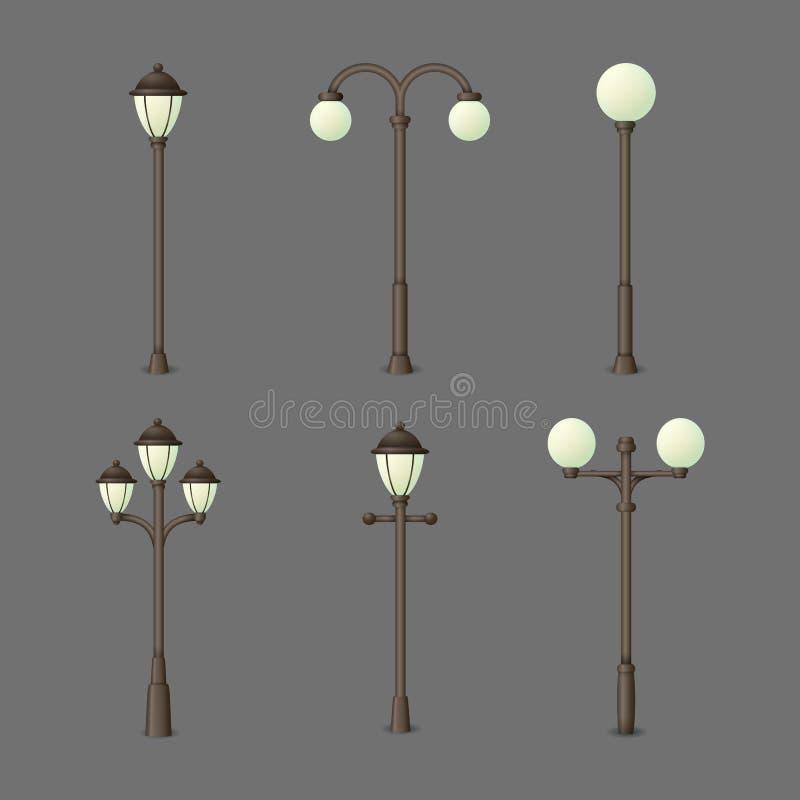 Ajuste do gás do vintage ou das lâmpadas de rua elétricas Luzes exteriores isoladas em um fundo cinzento Coleção de ícones urbano ilustração stock