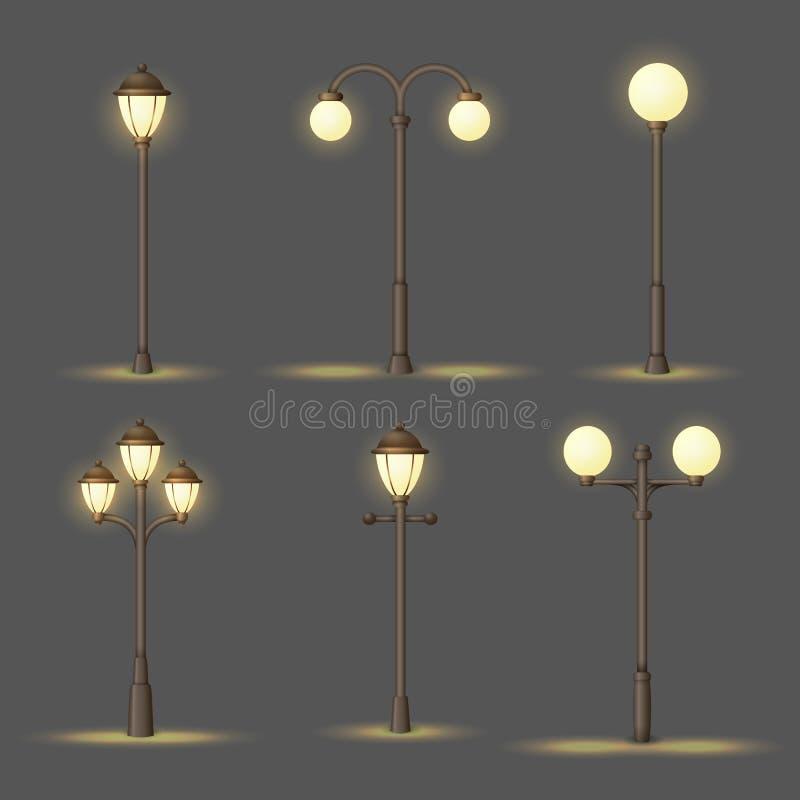 Ajuste do gás do vintage ou das lâmpadas de rua elétricas Luzes exteriores na noite Coleção de ícones urbanos do vetor ilustração do vetor