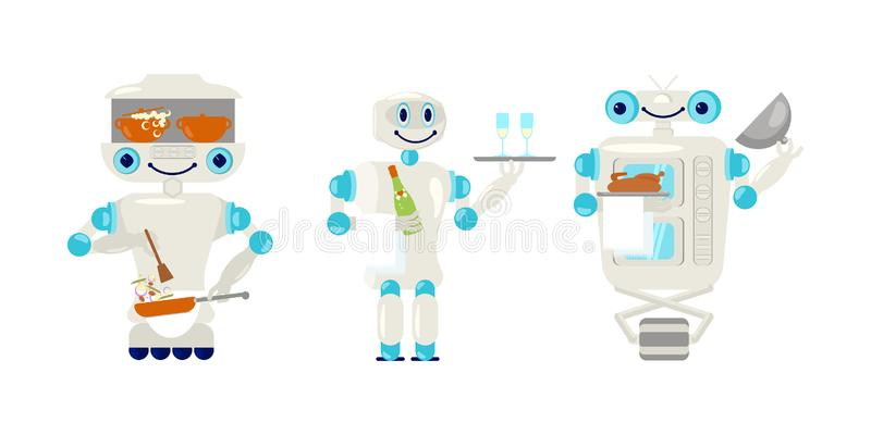 Ajuste do garçom e do cozinheiro do robô no estilo liso ilustração stock