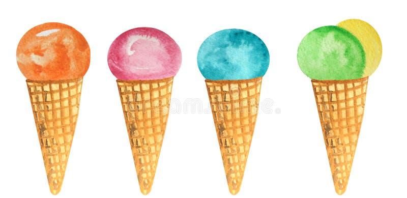 Ajuste do gelado colorido em um cone do waffle Ilustra??o da aquarela para o projeto ilustração stock