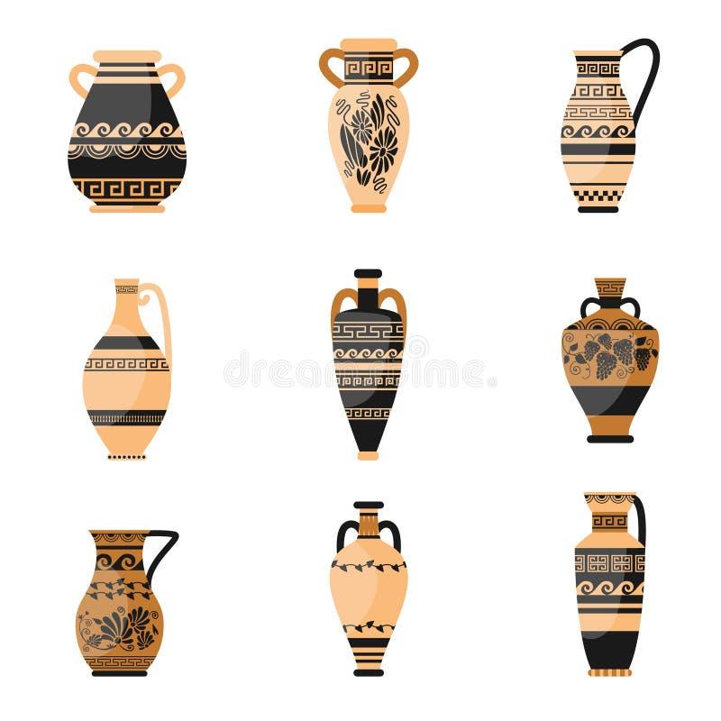 Ajuste do grego ou do vaso antigo, ornamethal, velho de Roma ilustração do vetor