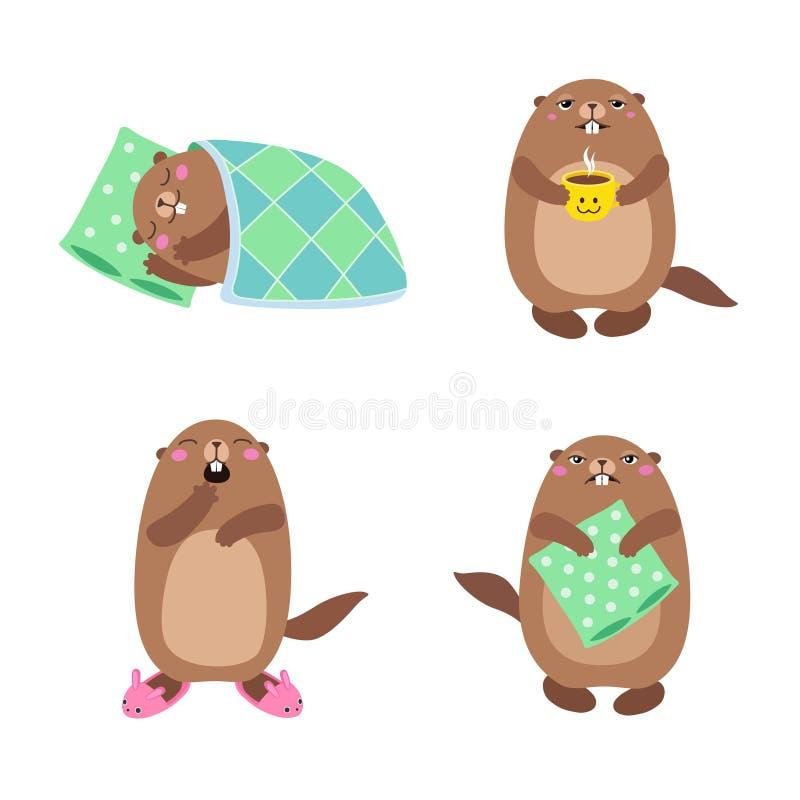 Ajuste do groundhog que dorme e que acorda liso ilustração royalty free