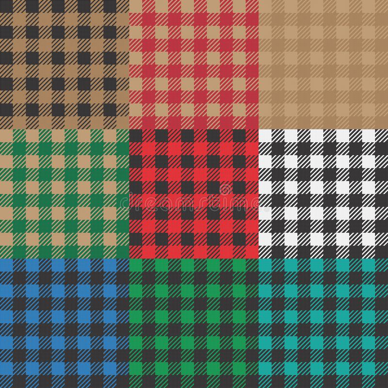 Ajuste do guingão 9, dos testes padrões vichy para a cobertura do piquenique ou do projeto da toalha de mesa ilustração do vetor