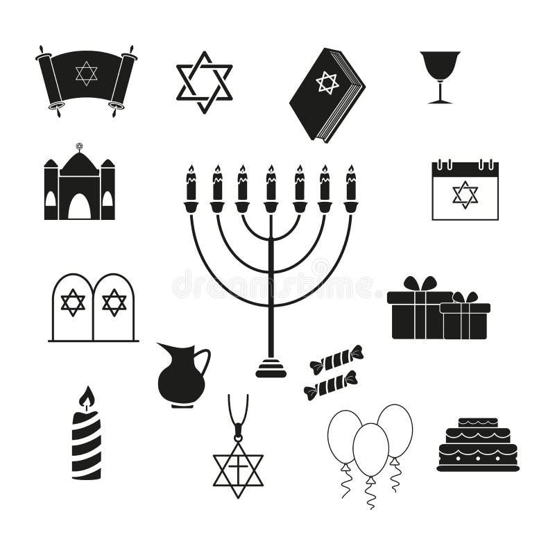 Ajuste do Hanukkah o feriado dos ícones ilustração royalty free
