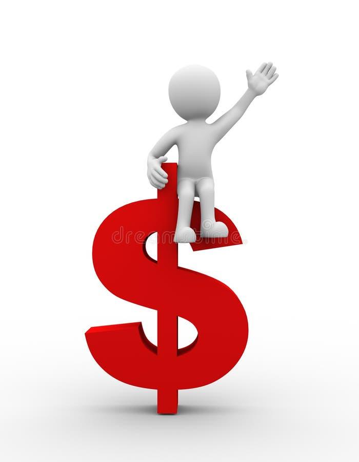 ajuste do homem 3d no símbolo do sinal de dólar ilustração royalty free