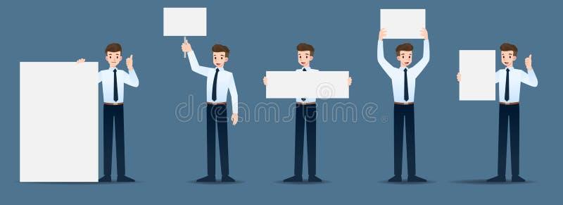 Ajuste do homem de negócios em 5 gestos diferentes O pessoa no caráter do negócio levanta muitas ações ilustração stock