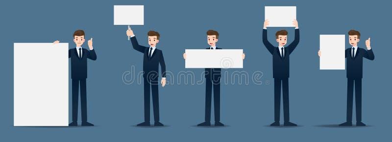 Ajuste do homem de negócios em 5 gestos diferentes O pessoa no caráter do negócio levanta muitas ações ilustração do vetor