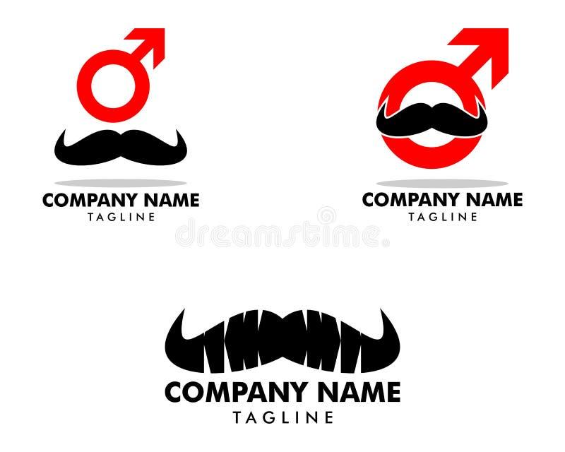 Ajuste do homem Logo Template Design do bigode ilustração royalty free
