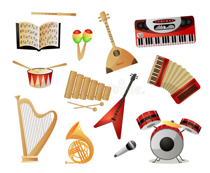 Ajuste do instrumento de m?sica moderno ou velho para a escola ou a universidade ilustração royalty free