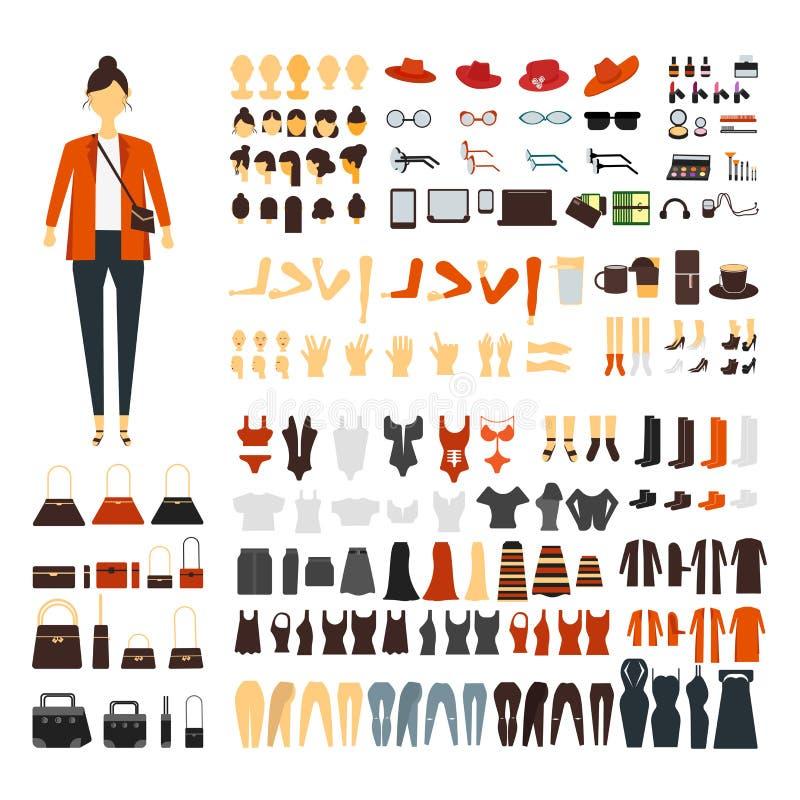 Ajuste do jogo liso do construtor da criação do caráter da jovem mulher ou da menina Acessórios da ilustração lisa fêmea elegante ilustração stock