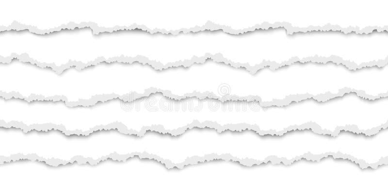 Ajuste do Livro Branco rasgado sem emenda horizontal com sombra Beiras danificadas do cartão Ilustra??o do vetor isolada no branc ilustração stock