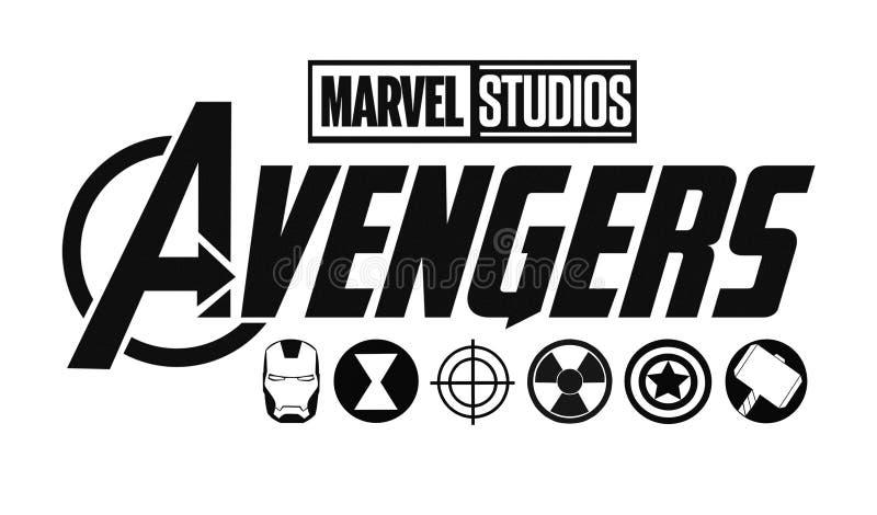 Ajuste do logotipo dos vingadores e dos ícones dos super-herói Estúdios da maravilha ilustração royalty free