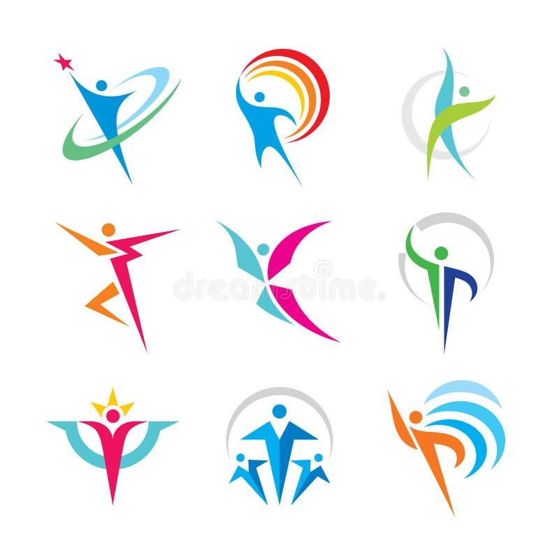 Ajuste do logotipo humano colorido do caráter do sumário Ilustração do vetor do conceito dos povos da coleção Esporte, aptidão, f ilustração royalty free