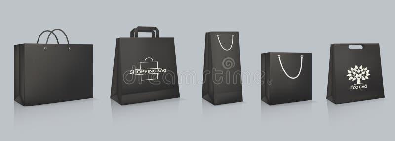 Ajuste do modelo do saco de papel preto real?stico com logotype ilustração stock