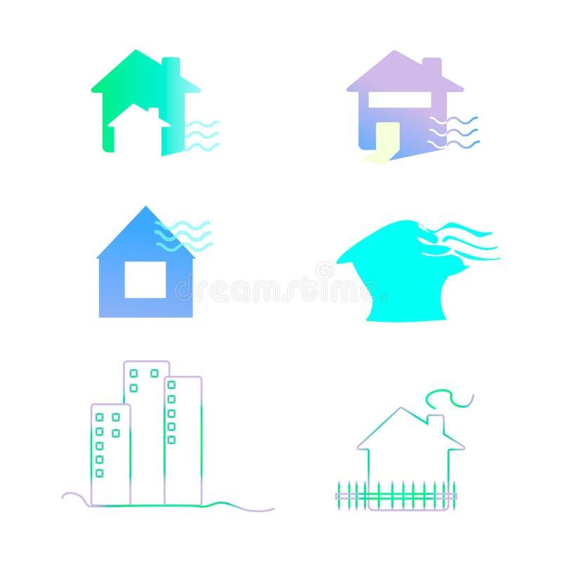 Ajuste do molde abstrato do projeto do logotipo das casas Sinal colorido ?cone universal do vetor casa, casa, horizontalmente ilustração royalty free