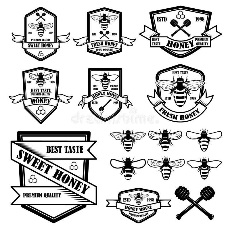 Ajuste do molde das etiquetas do mel do vintage Ícones da abelha Projete o elemento para o logotipo, etiqueta, emblema, sinal, ca ilustração stock