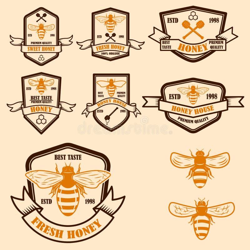 Ajuste do molde das etiquetas do mel do vintage Ícones da abelha Projete o elemento para o logotipo, etiqueta, emblema, sinal, ca ilustração do vetor