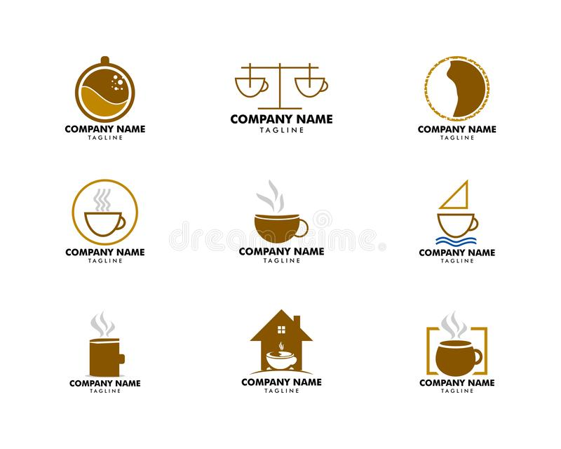Ajuste do molde do projeto do logotipo da cafetaria ilustração do vetor