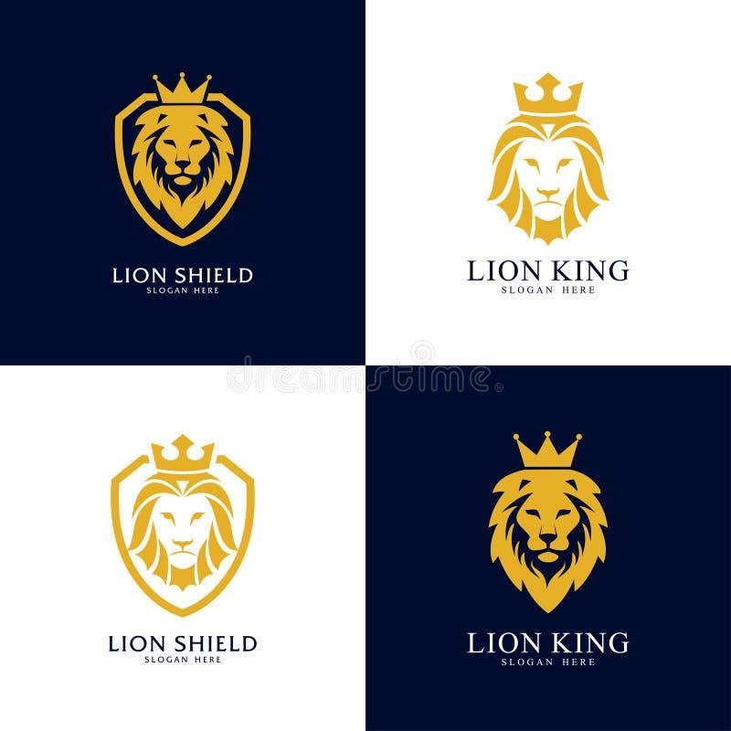 Ajuste do molde do projeto do logotipo do protetor do leão, logotipo principal do leão, ilustração do vetor ilustração royalty free