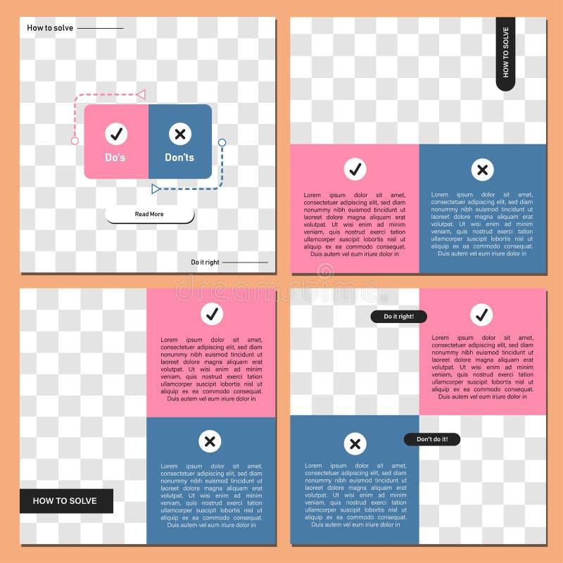 Ajuste do molde quadrado editável da bandeira Bandeira editável para anúncios sociais do cargo e da Web/Internet dos meios Bandei ilustração stock