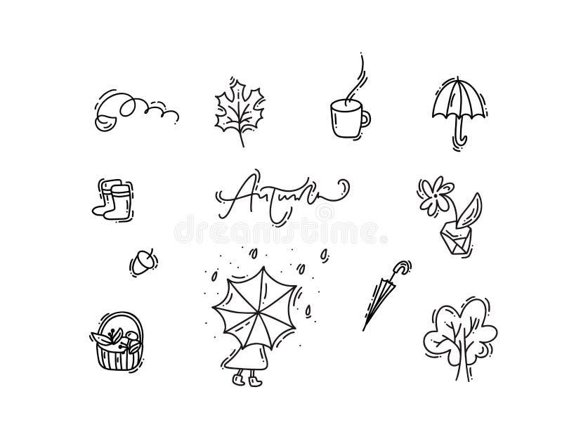 Ajuste do monoline do vetor rabiscam elementos florais Projeto gráfico da coleção do outono Ervas, folhas, guarda-chuva Ação de g ilustração royalty free