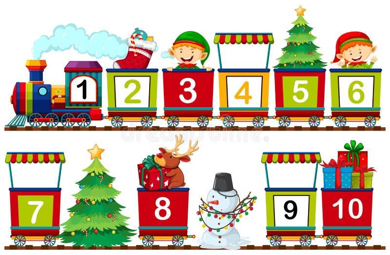 Ajuste do número do Natal no trem ilustração royalty free