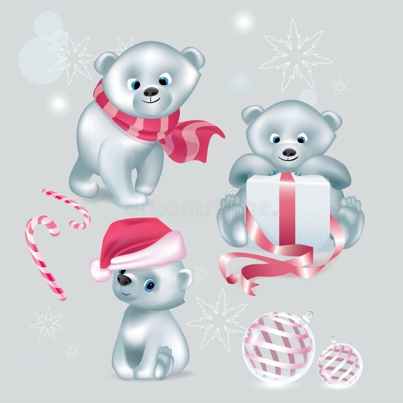 Ajuste do Natal bonito branco do vetor dos ursos ilustração stock