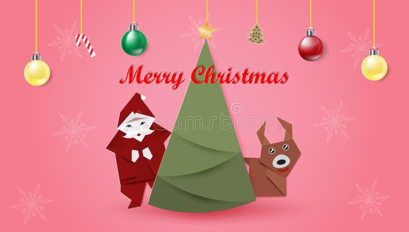 Ajuste do Natal no fundo cor-de-rosa ilustração do vetor