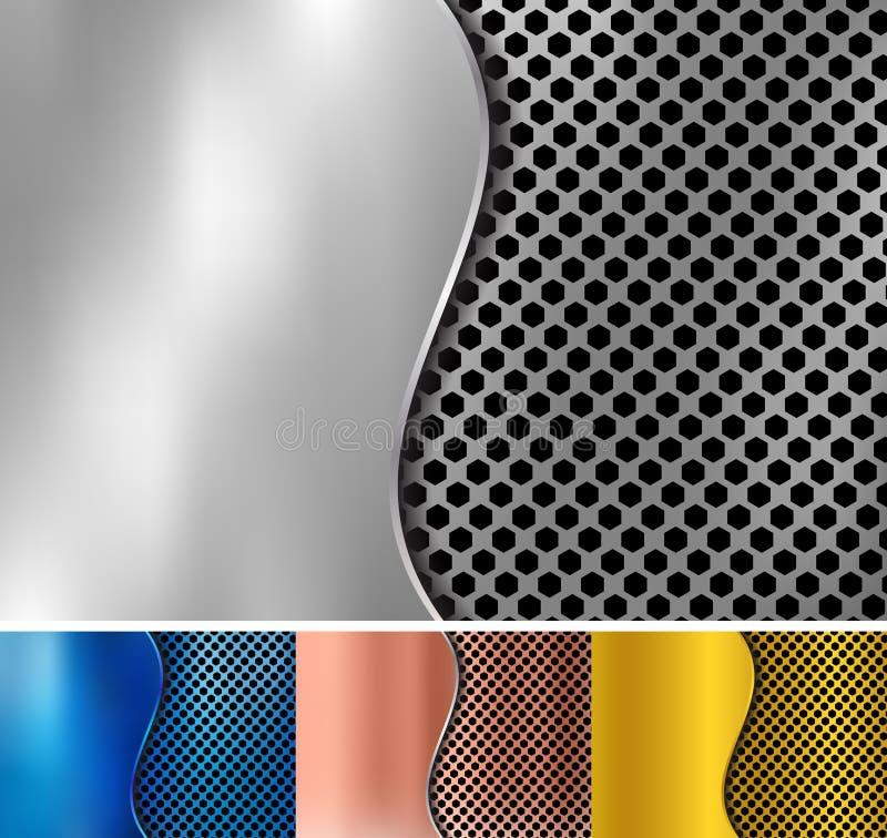 Ajuste do ouro abstrato, cobre, prata, fundo met?lico azul do metal feito da textura do teste padr?o do hex?gono com ferro de fol ilustração stock