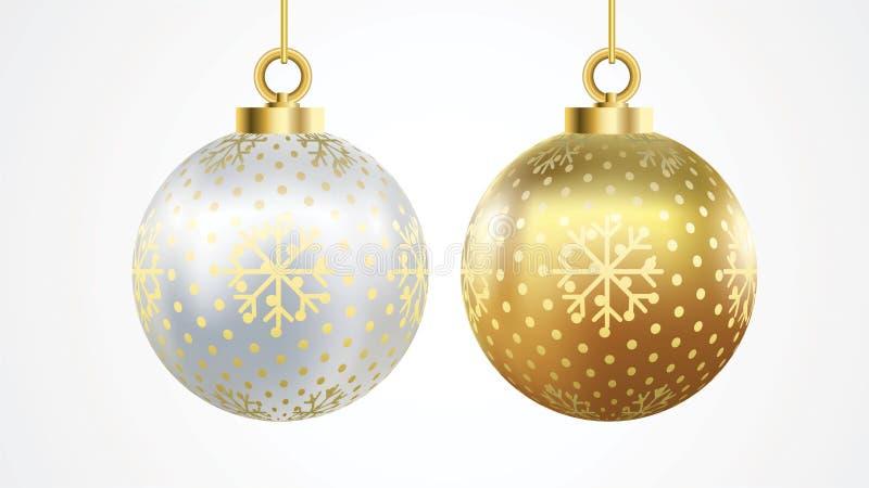 Ajuste do ouro do vetor e das bolas de prata do Natal com ornamento decorações realísticas isoladas coleção Ilustração do vetor s ilustração stock