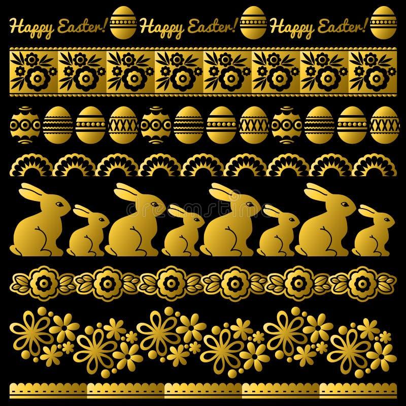 Ajuste do papel de laço dourado da Páscoa com flor, coelhos e ovos Os feriados repetíveis da Páscoa projetam Pode ser usado para  ilustração royalty free