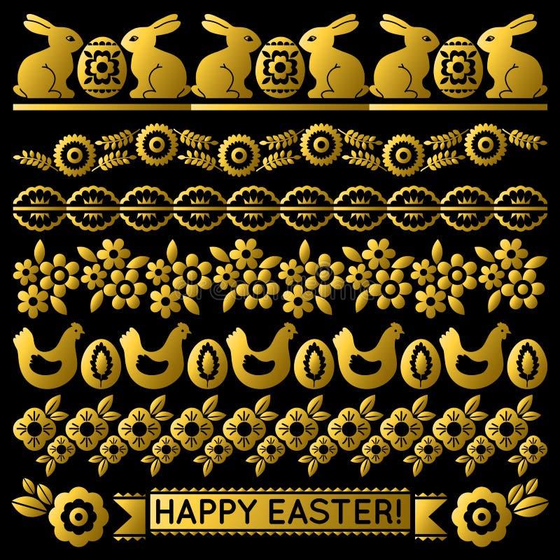 Ajuste do papel de laço dourado da Páscoa com flor, coelhos, galinha e ovos Os feriados repetíveis da Páscoa projetam Pode ser us ilustração royalty free