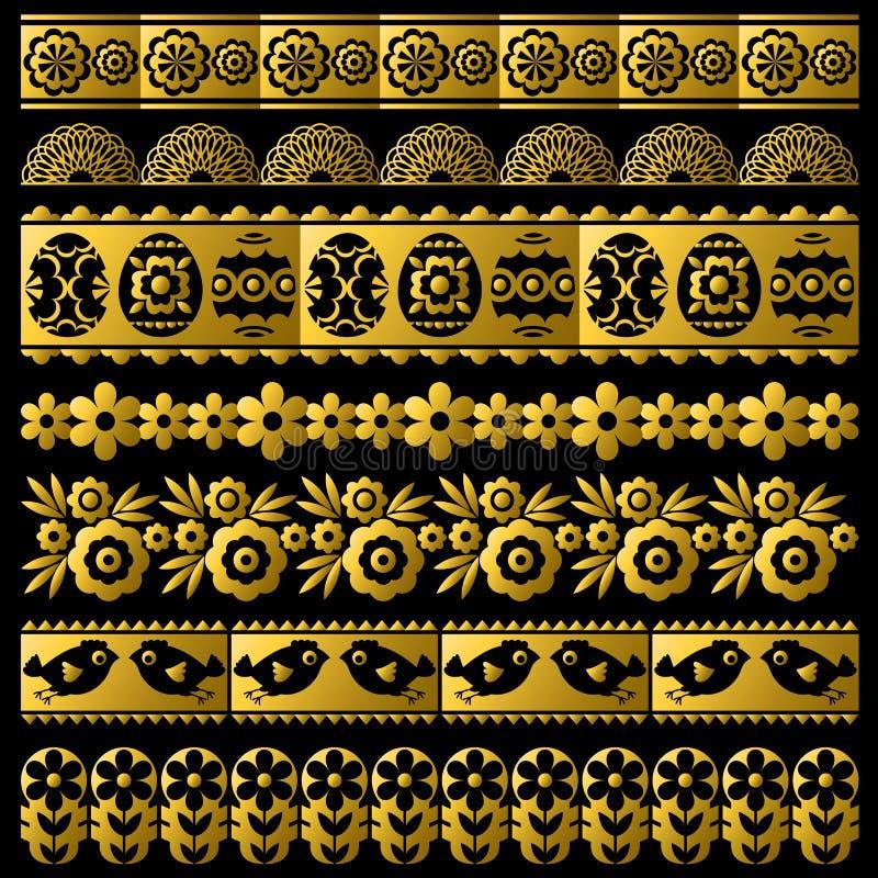 Ajuste do papel de laço dourado da Páscoa com flor, pássaros e ovos Os feriados repetíveis da Páscoa projetam Pode ser usado para ilustração royalty free