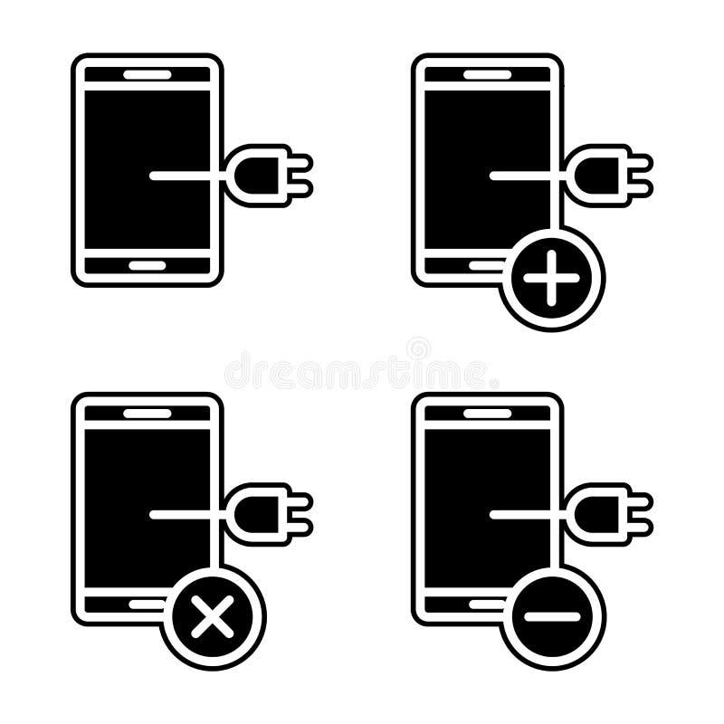 ajuste do para conectar para carregar o ícone do smartphone Elemento do telefone para o conceito e o ícone móveis dos apps da Web ilustração stock