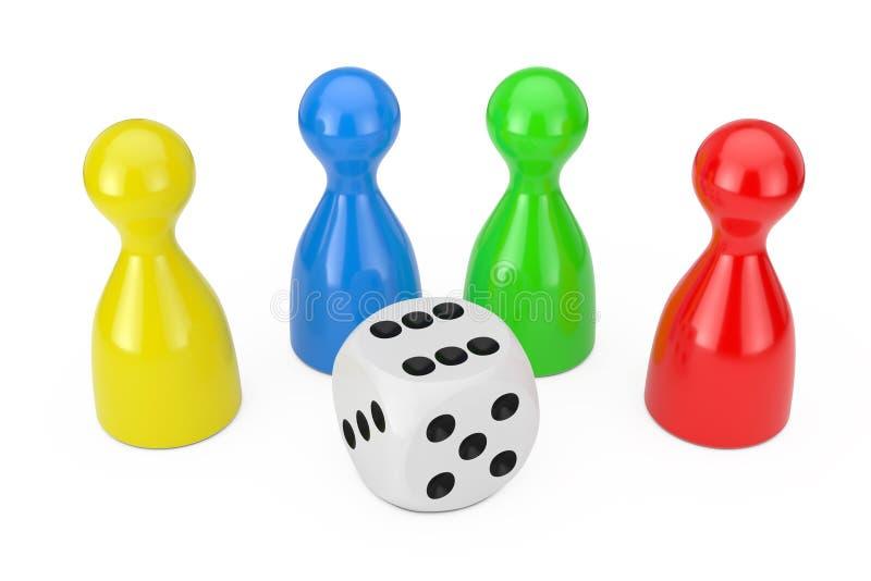 Ajuste do penhor Multicolour do jogo de mesa figura o modelo com o cubo branco dos dados do jogo rendição 3d ilustração royalty free