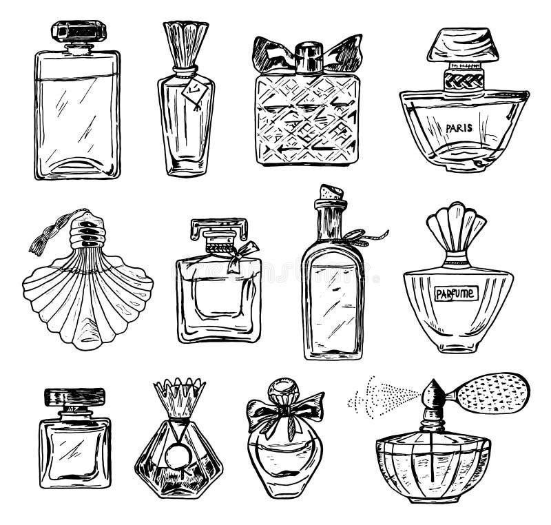 Ajuste do perfume das mulheres em uma garrafa Acessório de vidro elegante bonito Esboço desenhado mão Estilo do vintage ilustração do vetor