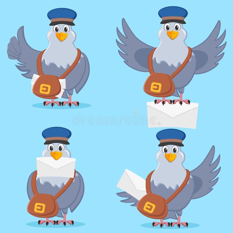 Ajuste do pombo de portador com saco e da letra em poses diferentes ilustração do vetor