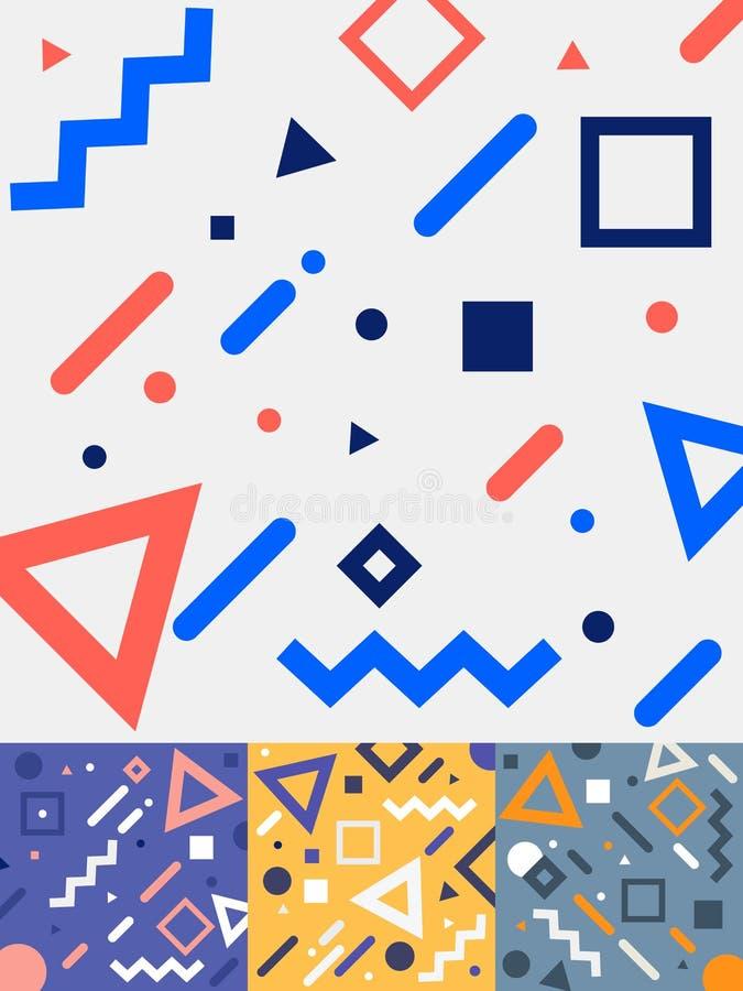 Ajuste do projeto de cartões na moda geométrico do estilo de memphis da forma no fundo colorido do tom Coleção da forma 80-90s do ilustração do vetor