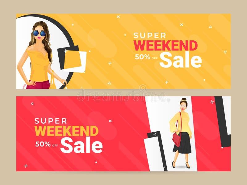 Ajuste do projeto do encabeçamento ou da bandeira com ilustração de meninas modernas e oferta do desconto de 50% para a venda de  ilustração stock