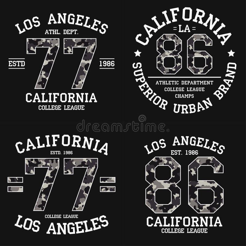 Ajuste do projeto gráfico de Los Angeles para o t-shirt com textura da camuflagem Cópia do t-shirt de Califórnia com slogan Fato  ilustração royalty free
