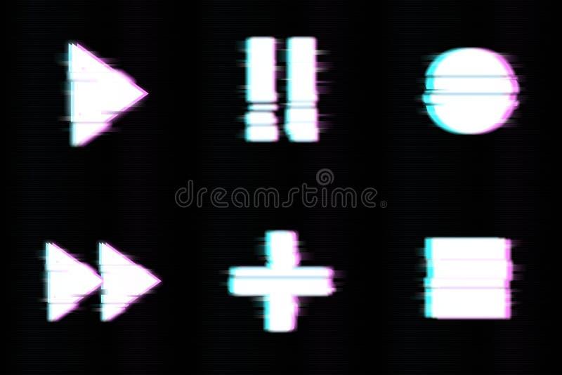 Ajuste do projeto mínimo abstrato do molde para marcar, anunciando no estilo geométrico do pulso aleatório Jogo, pausa, registro, foto de stock royalty free