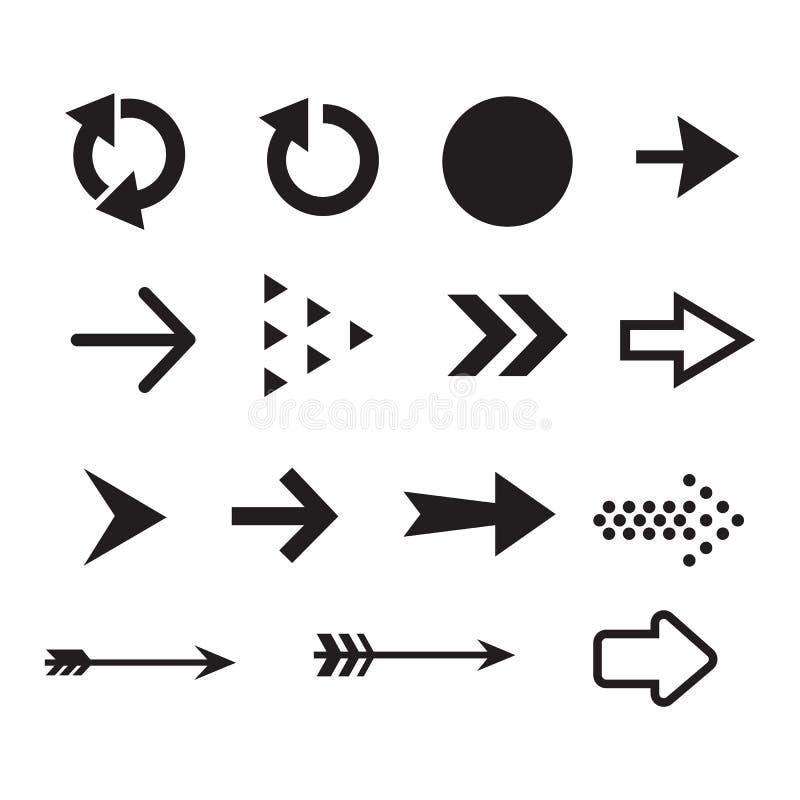 Ajuste do projeto preto liso do vetor do ícone da seta da cor ilustração do vetor