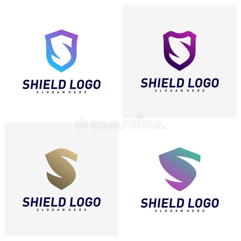 Ajuste do protetor inicial Logo Design Concepts de S Projeto da ilustra??o do vetor do protetor da letra de S S?mbolo do ?cone ilustração do vetor