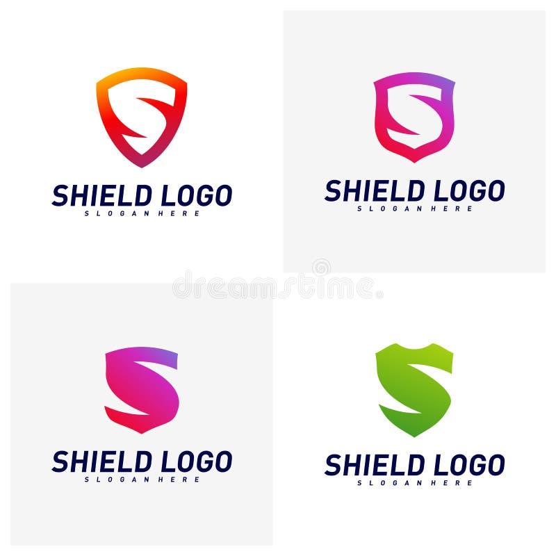 Ajuste do protetor inicial Logo Design Concepts de S Projeto da ilustra??o do vetor do protetor da letra de S S?mbolo do ?cone ilustração royalty free