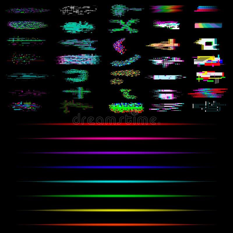 Ajuste do pulso aleatório e dos elementos de néon Coleção do pulso aleatório e dos efeitos de néon ilustração stock