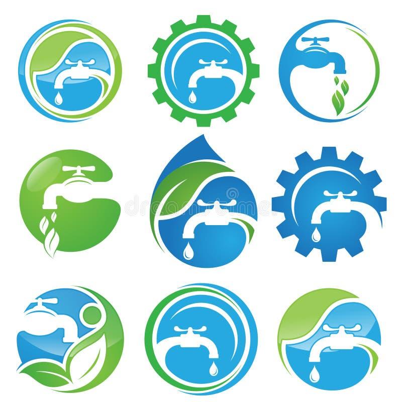 Ajuste do símbolo do ícone do vetor do encanamento do serviço para o projeto do elemento no fundo branco ilustração stock