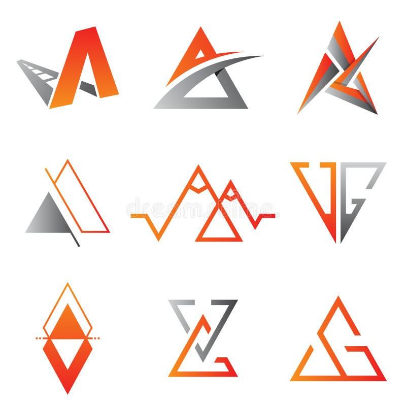 Ajuste do símbolo do ícone do vetor do triângulo para o projeto do elemento no fundo branco ilustração stock