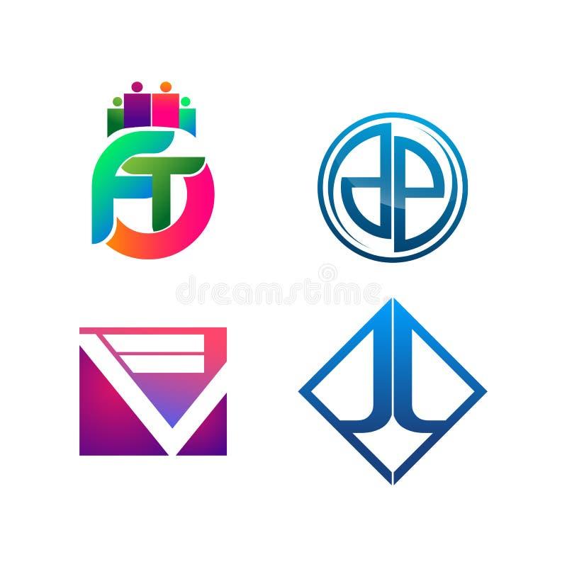 Ajuste do símbolo para o molde do projeto do logotipo do negócio Coleção de ícones modernos dos sumários para a organização ilustração royalty free