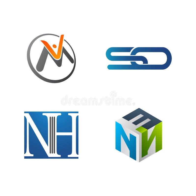 Ajuste do símbolo para o molde do projeto do logotipo do negócio Coleção de ícones modernos dos sumários para a organização ilustração stock